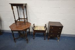 AN EDWARDIAN WALNUT OCTAGONAL CENTRE TABLE, an Edwardian piano stool, oak occasional table and a