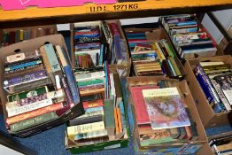 BOOKS, approximately one hundred and forty titles in nine boxes, including Cookery, History,