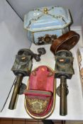 A PAIR OF COACHING LAMPS WITH SWAG DECORATION, converted to electric, approximate height 44cm,