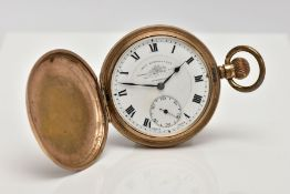 A GOLD-PLATED FULL HUNTER POCKET WATCH, white dial signed 'Thomas Russell & Son, Liverpool', Roman