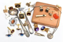 A BOX OF ASSORTED ITEMS, to include a quantity of costume cufflinks, such as a cased four piece '