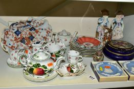 A GROUP OF CERAMICS, etc including a Villeroy & Boch tea for two part set, painted in the Wemyss