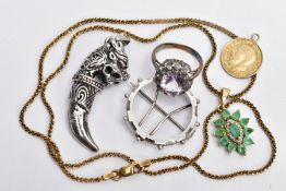 A SELECTION OF JEWELLERY, to include a silver gilt gem set pendant necklace, the pendant of an