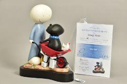 DOUG HYDE (BRITISH 1972) 'DAISY TRAIL' a limited edition sculpture of a boy and his dog 386/595,