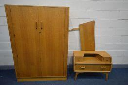 A G PLAN BRANDON OAK THREE PIECE BEDROOM SUITE, comprising a two door wardrobe, width 122cm x