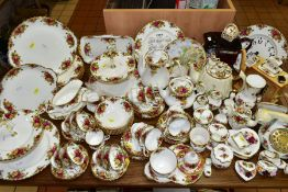ROYAL ALBERT 'OLD COUNTRY ROSES' DINNER/TEA WARES, NOVELTY TEAPOTS AND TRINKETS, comprising two