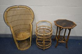 A WICKER PEACOCK CHAIR, along with a bamboo drinks trolley and an oriental bamboo occasional