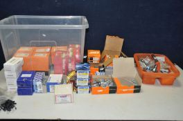 A TRAY CONTAINING BOXES OF FIXINGS AND A TRAY OF DOOR FURNITURE including Tapcon Concrete fixing,