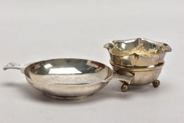 TWO SILVER BONBON DISHES, the first a George V dish, of a plain polished circular form, double