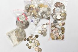 A BOX CONTAINING A SMALL AMOUNT OF WORLD COINS to include a parcel of silver .925 to .400 crowns and