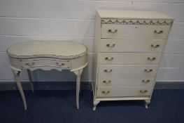 A FRENCH CREAM TWO PIECE BEDROOM SUITE, comprising a tall chest of six drawers, width 74cm x depth