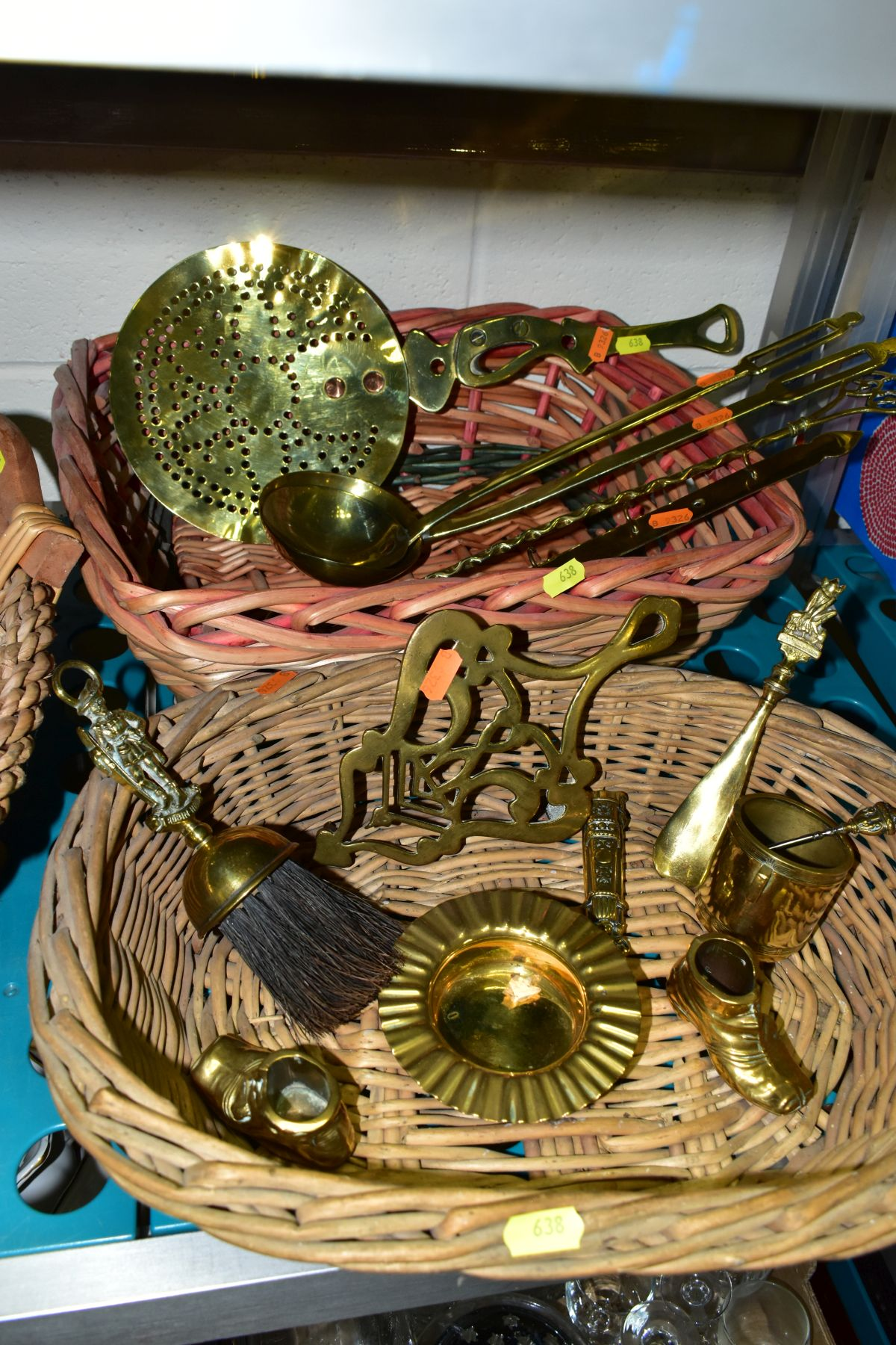A GROUP OF COPPER, BRASS, WICKER BASKETS, ETC, including a set of balance scales on a mahogany - Image 8 of 11