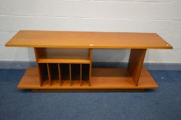 A DANISH TEAK MEDIA SIDEBOARD/UNIT, fitted with various shelves/compartments, stamped made in