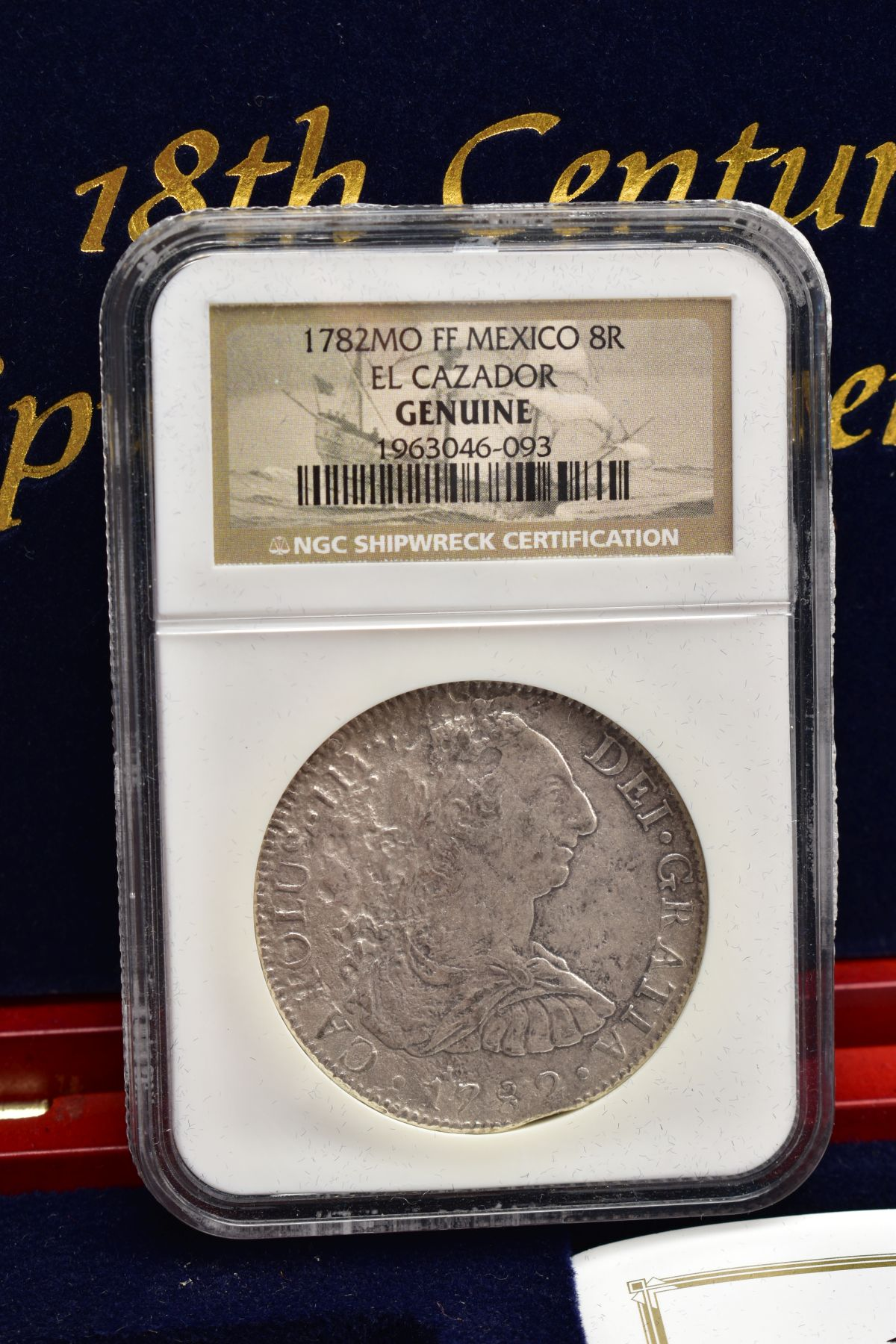 A SLABBED NGC SHIPWRECK CERTIFICATION OF A 18TH CENTURY 1782 SILVER EIGHT REALES COIN with - Image 2 of 3
