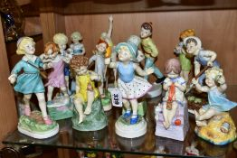 FOURTEEN ROYAL WORCESTER CHILD'S BLESSING BOY AND GIRL DAYS OF THE WEEK FIGURES, comprising Monday