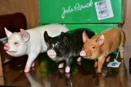 THREE BOXED BESWICK RARE BREED PIGS, comprising Tamworth Sow No 4114, Middlewhite Boar No 4117 and