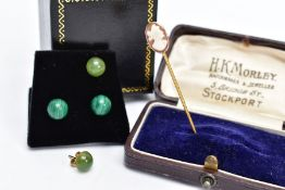 A YELLOW METAL CAMEO STICK PIN AND TWO PAIRS OF YELLOW METAL SEMI-PRECIOUS EARRINGS, the stick pin