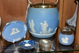 THREE WEDGWOOD PALE BLUE JASPERWARE ITEMS, comprising a biscuit barrel with a plated rim, handle and