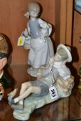 TWO LLADRO FIGURES, comprising no 4835 'Girl with Lamb', designed by Juan Huerta, issued 1972-