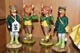 FOUR BESWICK FOX CHARACTER FIGURES, comprising two ECF1 'Huntsman Fox' and two 'The Sporting