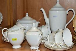A WEDGWOOD SIGNET PLATINUM PART TEA/COFFEE SERVICE, comprising coffee pot, tea pot, milk jug, twin