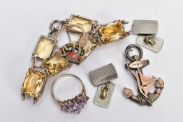 A SELECTION OF SILVER AND WHITE METAL ITEMS, to include a silver sweetheart brooch in the form of an