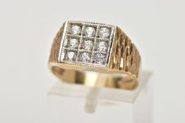 A GENTS 9CT GOLD CUBIC ZIRCONIA SIGNET RING, of a square shape, set with nine circular cut,