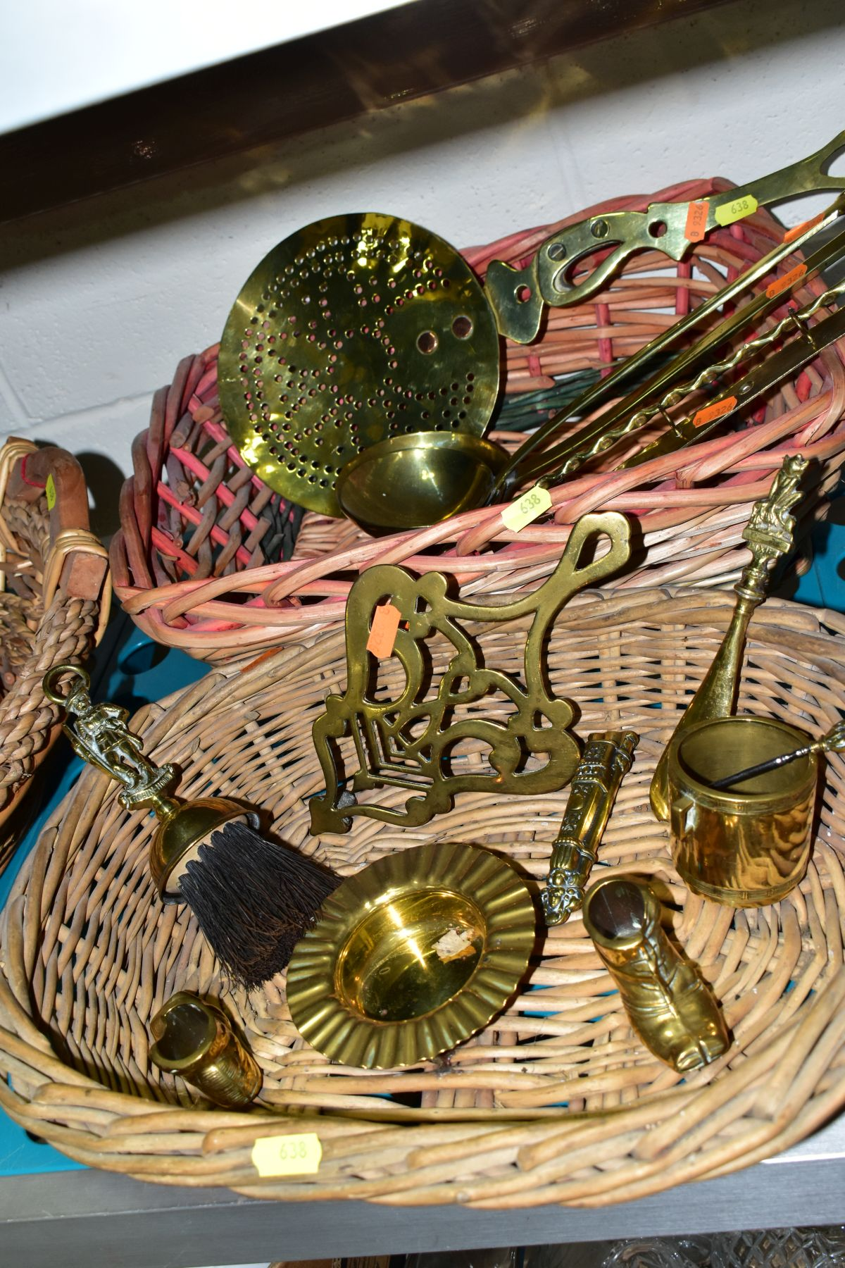 A GROUP OF COPPER, BRASS, WICKER BASKETS, ETC, including a set of balance scales on a mahogany - Image 6 of 11