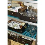 FIVE BOXES AND LOOSE CERAMICS AND GLASSWARE, including drinking glasses, part tea sets, novelty
