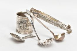 A SELECTION OF SILVER AND UNMARKED PIECES, to include a Georgian fiddle pattern caddy spoon,