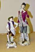 TWO 20TH CENTURY CONTINENTAL PORCELAIN FIGURES, comprising a Rudolstadt and Volkstedt Kammer