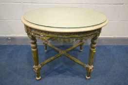 A 19TH CENTURY CIRCULAR GILTWOOD LOUIS XVI STYLE TABLE, marble top, foliate carving, on four