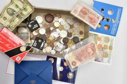A CARDBOARD BOX OF MIXED COINAGE to include a proof 1982 UK & N Ireland year set, a 1983 UK year