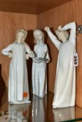 THREE LLADRO FIGURES OF CHILDREN WEARING NIGHT DRESSES, comprising Nos 4868 'Girl with Candle', 4870