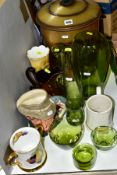 A SMALL GROUP OF CERAMICS, GLASS, ETC, to include a modern coal bucket and cover with side handles