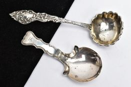 A GEORGE III SILVER CADDY SPOON AND ONE OTHER, the caddy spoon designed with a wavy edge stem,