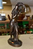 AFTER CLAUDE MICHEL CLODION, a bronzed spelter sculpture of a female figure carrying a small child