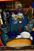 THREE BOXES OF DENBY, WEDGWOOD PALE BLUE JASPERWARE, CAITHNESS AND OTHER MODERN PAPERWEIGHTS, etc,
