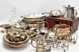 A BOX OF ASSORTED WHITE METAL WARE AND OTHER ITEMS, to include various EPNS and EP entree dishes,