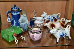 A GROUP OF CERAMICS AND GLASS, comprising Wedgwood dark blue jasperware covered jug, silver mount to