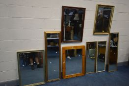A COLLECTION OF EIGHT VARIOUS MIRRORS, of various sizes and materials, largest mirror size, 54cm x