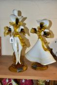 A PAIR OF VENETIAN GLASS COMPANY FIGURES OF A LADY AND GENTLEMAN, white, amber and black, both