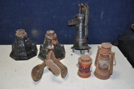A SMALL CAST IRON WATER PUMP 41cm high, two cast iron rain hoppers, a Tilly lamp, a small paraffin