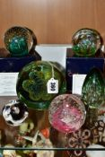 FOUR CAITHNESS GLASS PAPERWEIGHTS AND TWO OTHERS, comprising a Mdina sea urchin example, height