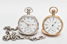 A SILVER OPEN FACE POCKET WATCH, ALBERT CHAIN AND A GOLD-PLATED OPEN FACE WALTHAM POCKET WATCH,