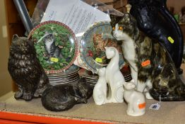 CAT THEMED SCULPTURES AND COLLECTORS PLATES, comprising a Mike Hinton pottery seated cat, height