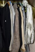 LADIES AND GENTS COATS AND JACKETS, gents include vintage Burton tuxedo jacket and trousers, no size