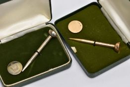 TWO CASED GOLF TEE AND MARKER SETS, the first in 9ct gold, 9ct hallmark for Birmingham 1977,