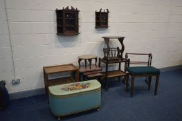 A QUANTITY OF OCCASSIONAL FURNITURE, to include a mahogany nest of three tables, two small wall