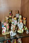 A GROUP OF ROYAL ALBERT, BORDER FINE ARTS AND OTHER BEATRIX POTTER CHARACTER FIGURES, including five